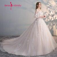 Beauty Emily Vestido de Noiva Elegant Bride Gown Vintage Robe De Mariage special lace design tulle sleeve Wedding Dress 2018
