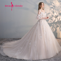 Beauty Emily Vestido de Noiva Elegant Bride Gown Vintage Robe De Mariage special lace design tulle sleeve Wedding Dress 2018