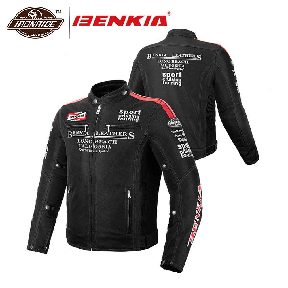 BENKIA Hommes Moto Veste Printemps Été Automne Vestes Motochaqueta Moto Équipement De Protection Respirant Maille Moto Vêtements