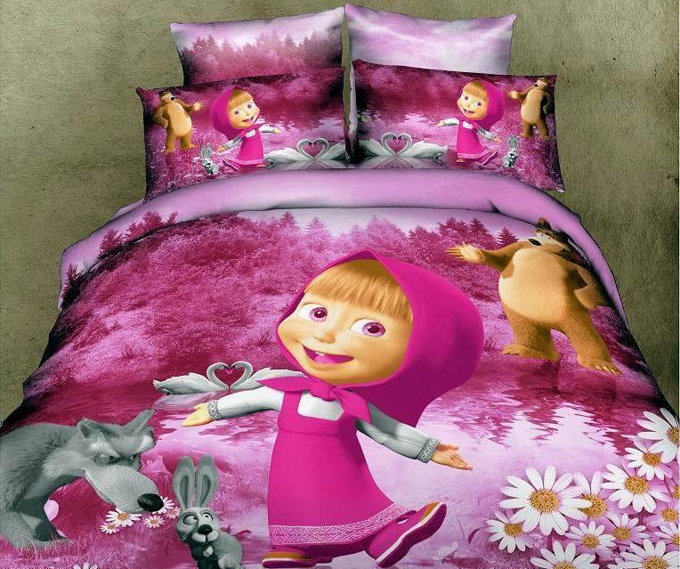 Masha Bear Kids Baby Girls Bedding Set Twin Full Queen
