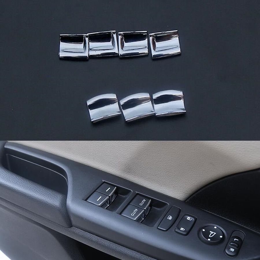 7pcs Inner Window Lift Switch Button Cover Trim for Honda Civic 10th 2016-2017