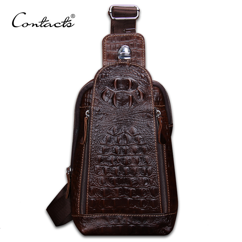 CONTACT'S Fashion Genuine Leather Men chest Bag Alligator Leather Vintage Crossbody Bags Famous Brand Small Men's Messenger Bag