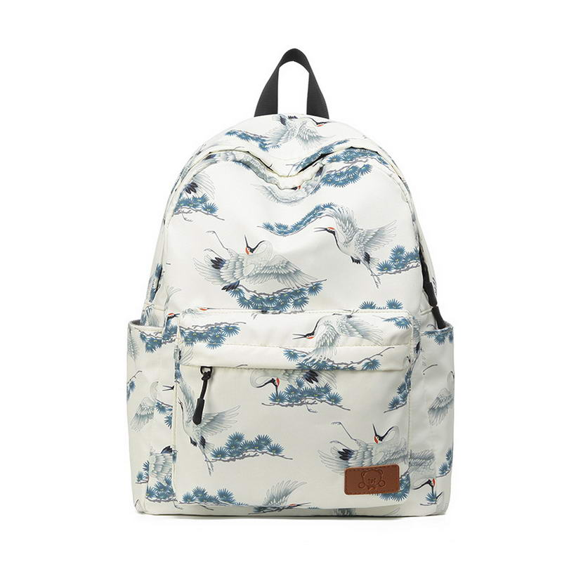KANDRA New Fashion Computer Backpack For Women 2019 Watercolor Crane School Bag Travel Backpack High Quality Waterproof Bags