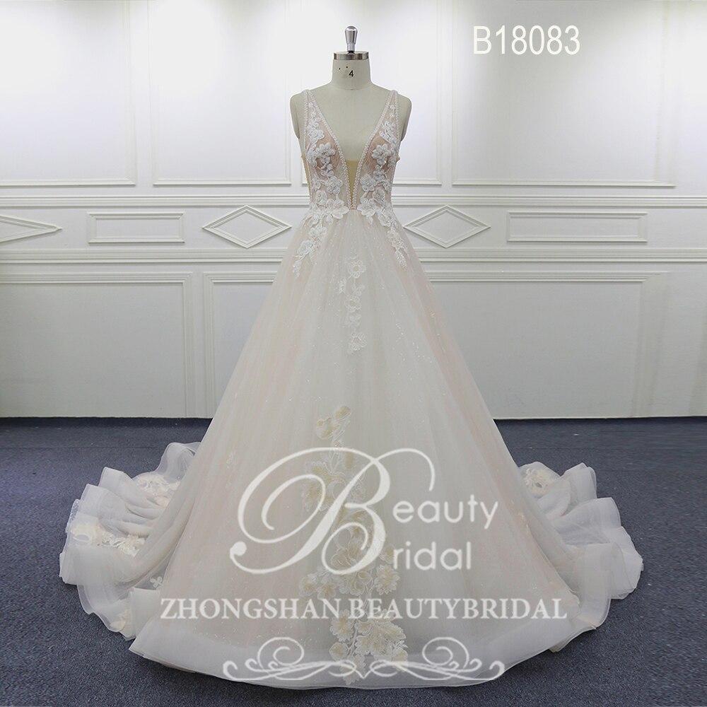 Beautybridal Elegante Flores Lace Vestido De Noiva Sem Mangas Com Decote Em V Do Vestido de Casamento Tribunal trem Vestido de noiva vestidos de Noiva B18083