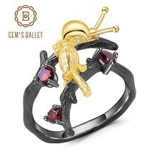 GEMS BALLETT 925 Sterling Silber Handgemachte Einstellbar Offenen Ring 0,43 Ct Natürliche Granat Schnecken & Vogel auf dem Ast Ringe für Frauen