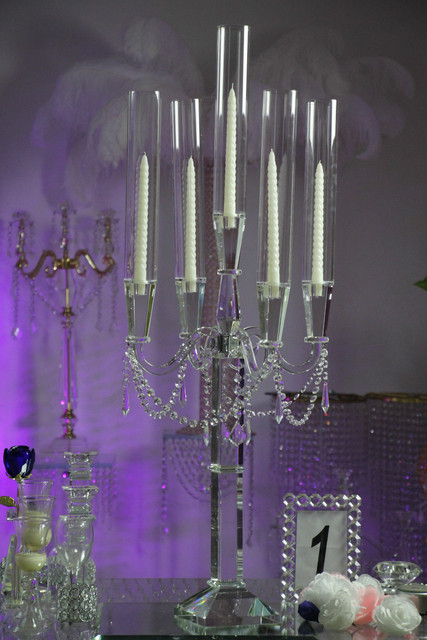 new design 5 arms crystal candlelabra for wedding centerpieces