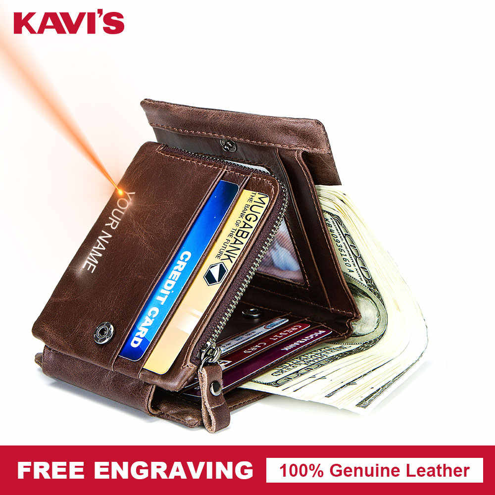 KAVIS Free Engraving Trifold Genuine Leather Men Wallet Coin Purse Male Cuzdan Zipper Walet Carder Holder PORTFOLIO Valllet