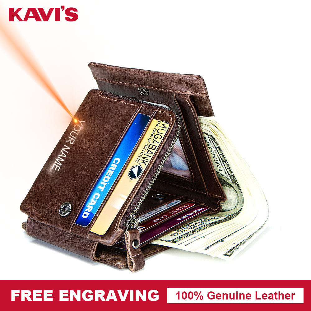 KAVIS Free Engraving Trifold Genuine Leather Men Wallet Coin Purse Male Cuzdan Zipper Walet Carder Holder PORTFOLIO Valllet