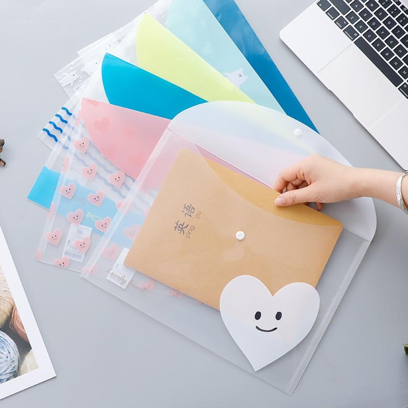 4pcs/set Simple File Transparent Sweet Animal Pocket PP Bag Hand Carry Stuff Bag Folder Portfolio School Stationeries Support