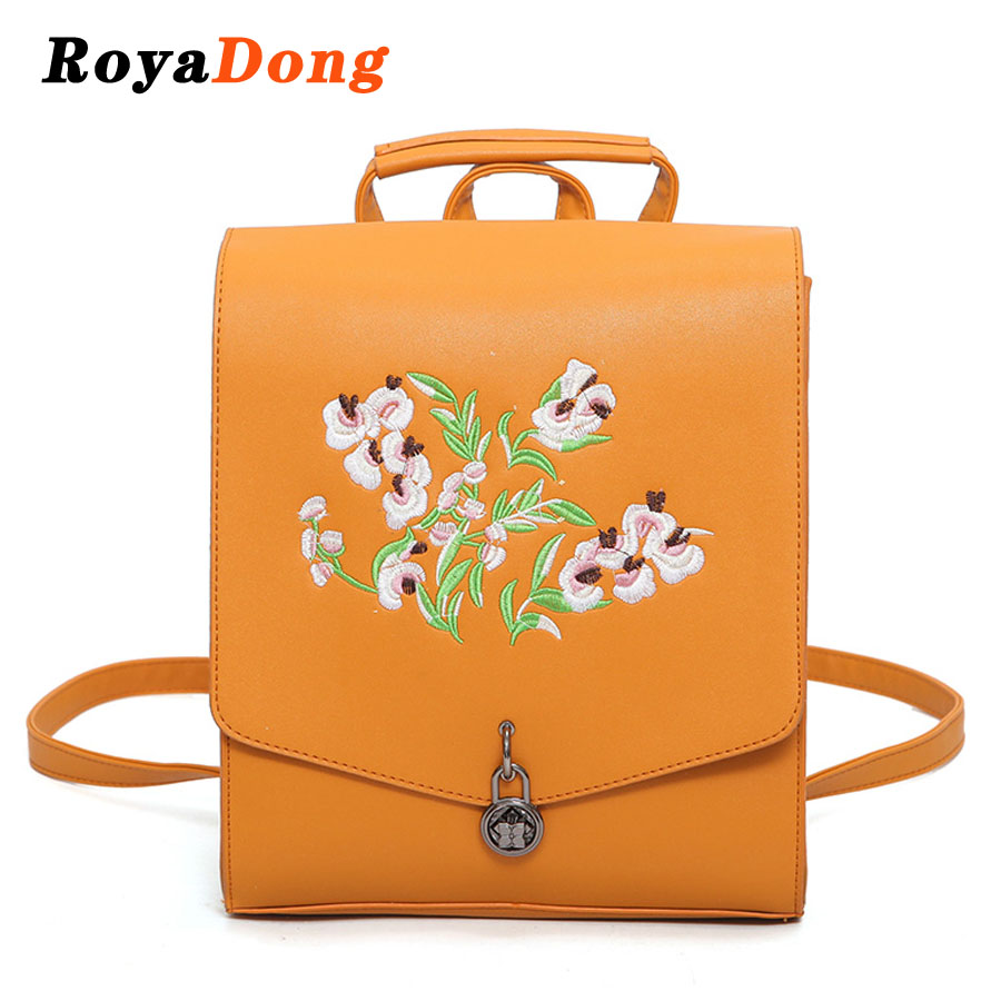 School bag embroidery - Royadong Women Backpacks 2017 Fashion Embroidery Flower School Bags For Teenage Girls Multi Use Backage