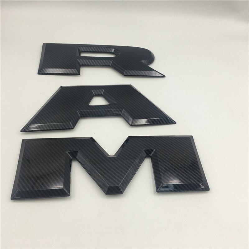 Pour Dodge Ram 1500 emblème en Fiber de carbone Logo hayon arrière coffre lettres 2015-2018