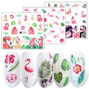 Image 3 - 12Pcs Flamingo Nail Sticker Bloem Blad Water Decal Transfer Nail Sliders Zomer Tattoo Nail Art Decoratie Tip JIA1537 1548 1