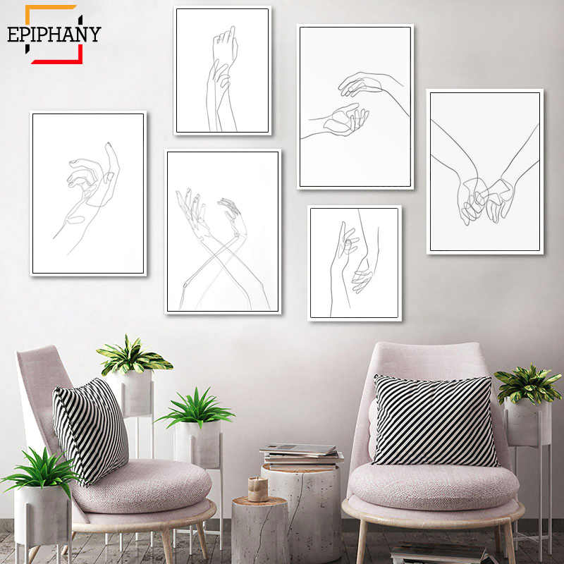 Abstract Hand Drawing Line Art Canvas Painting Couple Holding Hands Sketch Print Black White Bedroom Wall Art Minimalist Poster