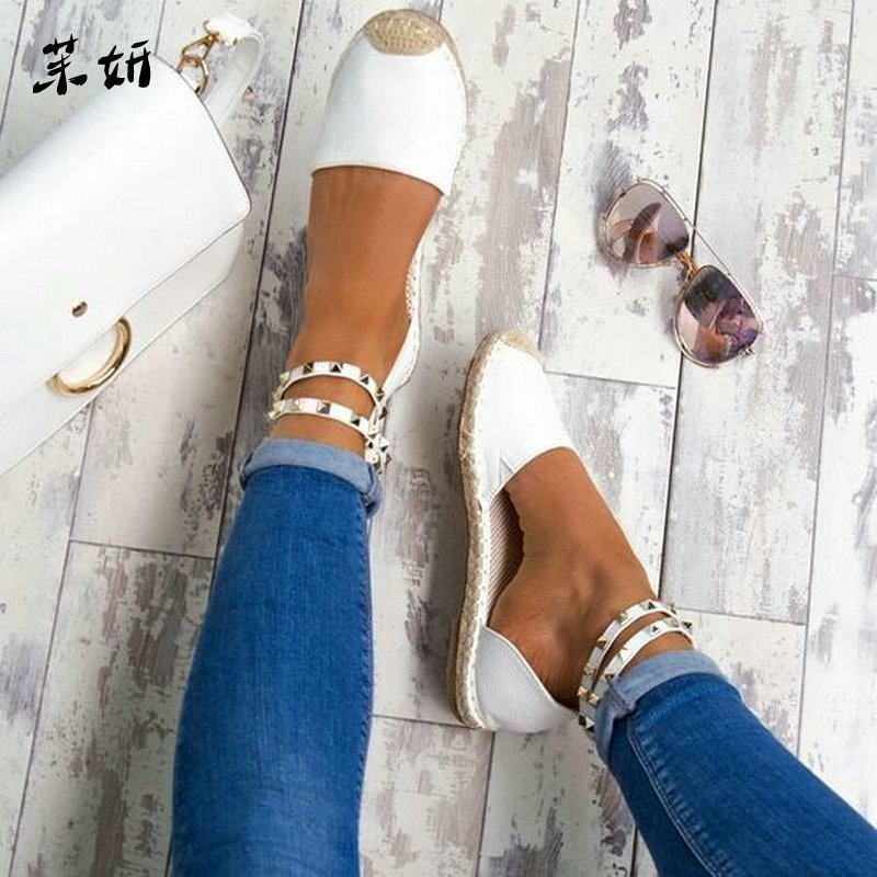 Women Summer Shoes Rome Sandals Women's Gladiator Flats Ladies Rivet Espadrilles Summer Chunky Holiday Sandals Shoes