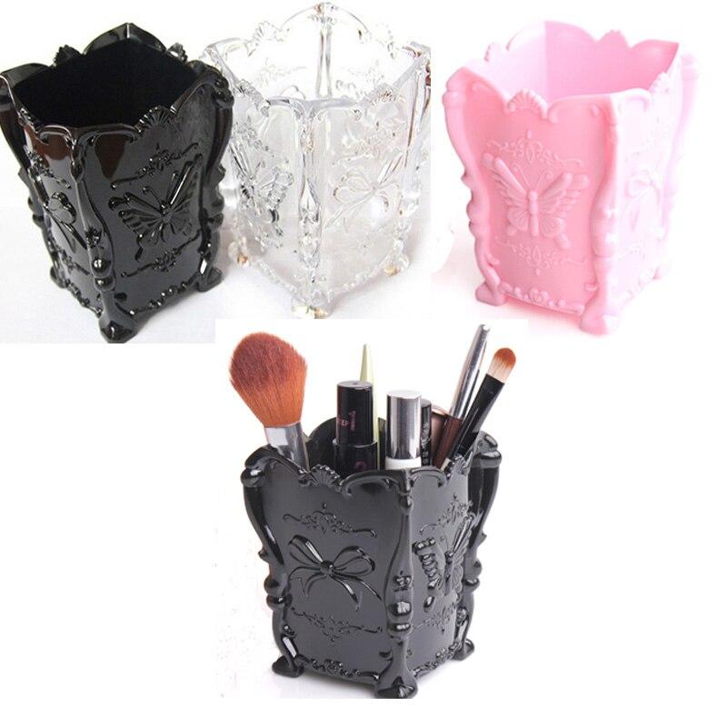 Retro Acrylic Makeup Cosmetic Storage Box Case Brush Pen Pencil Holder