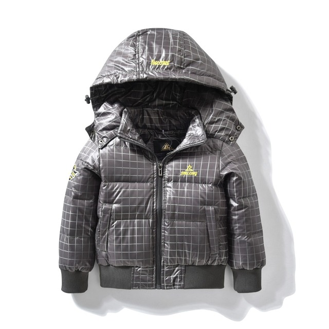 Spring jacket for baby Boys Children hooded outerwear coat Light Down toddler jackets for Boy children Clothing Classical Grey