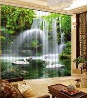 Высокое качество шторы украшения Европейский 3D шторы для гостиной плотные водопад