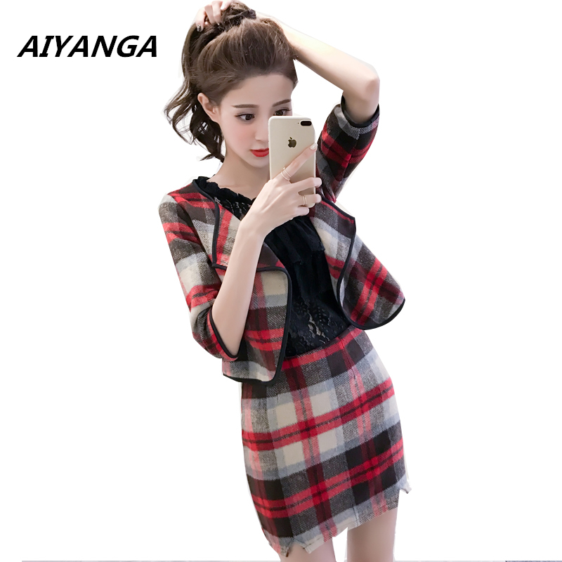 Autumn Winter new women sets plaid woolen female 2 piece per set long sleeve Pack hip short skirts check tracksuit slim fashion