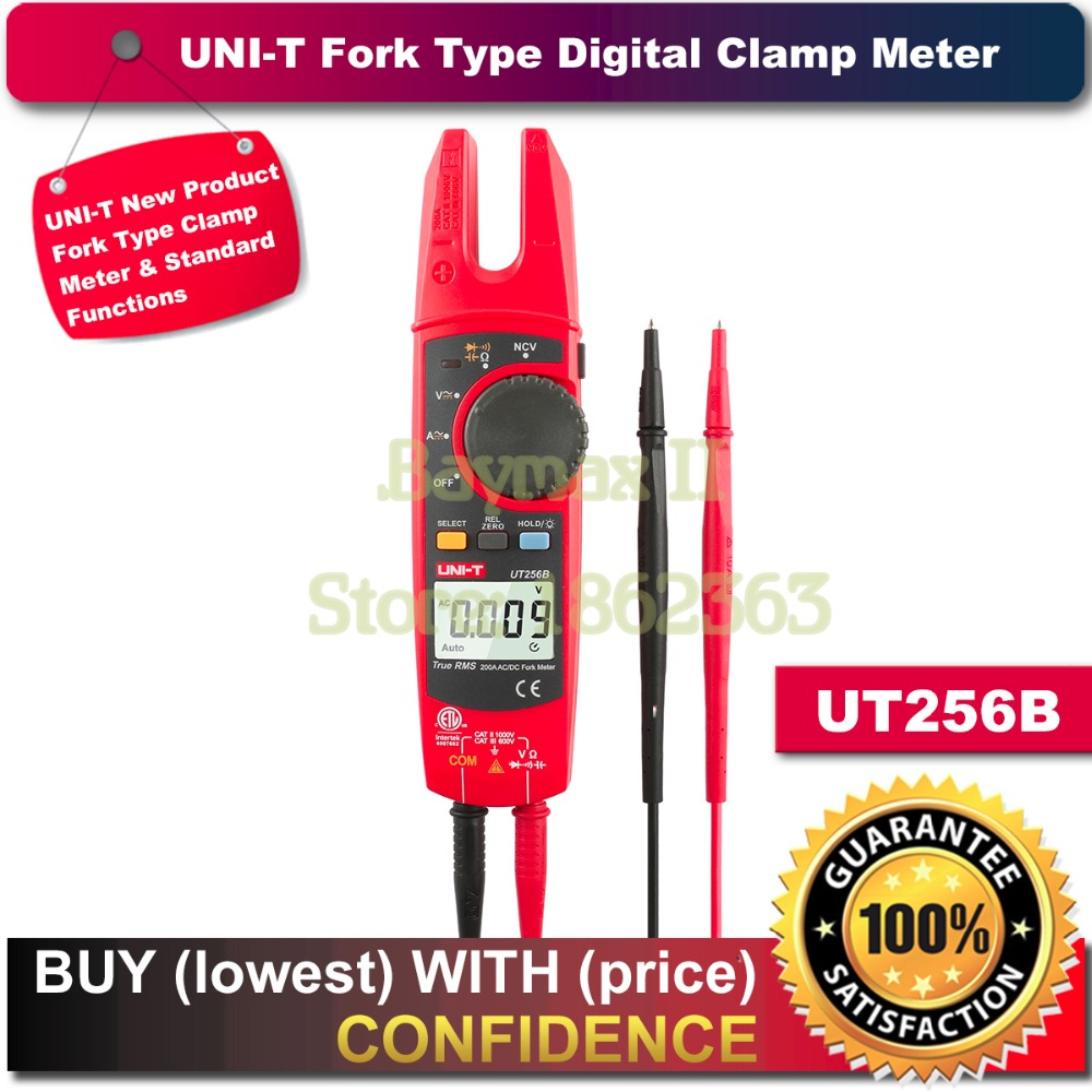 UNI-T UT256B Auto Range 200A AC/DC Current True RMS Digital Fork Type Clamp Meter with ohm,Capacitance NCV Test