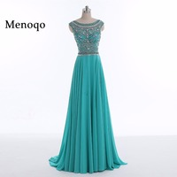 Menoqo 2018 Prom Dresses A Line Beaded Chiffon Cap Sleeves Women Long Prom Gown Evening Dresses Robe De Soiree