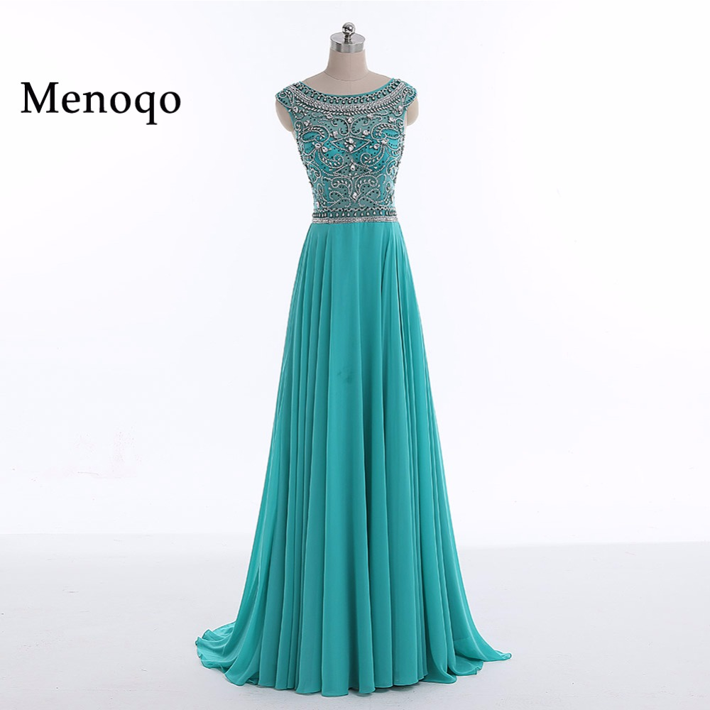 Menoqo 2019   Prom     Dresses   A Line Beaded Chiffon Cap Sleeves Women Long   Prom   Gown Evening   Dresses   Robe De Soiree