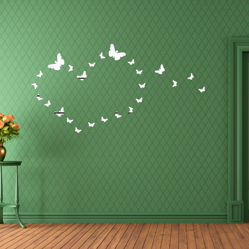 25 pcs Hot Sale 3D Wall Stickers Mirror Butterfly Home Decor Wall Acrylic Wall Stickers Room DIY Decor in Wall Stickers from Home Garden