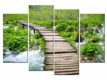 Framed 4 Panel Pastoral landscape Wall Art Oil Painting On Canvas Printed Pictures Decor painting large living room