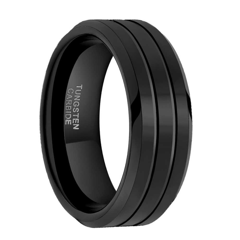 Somen pierścień mężczyźni 8mm czysty czarny pierścionek z węglika wolframu dwa rowek klasyczny obrączka biżuteria męska obrączki Bague Homme