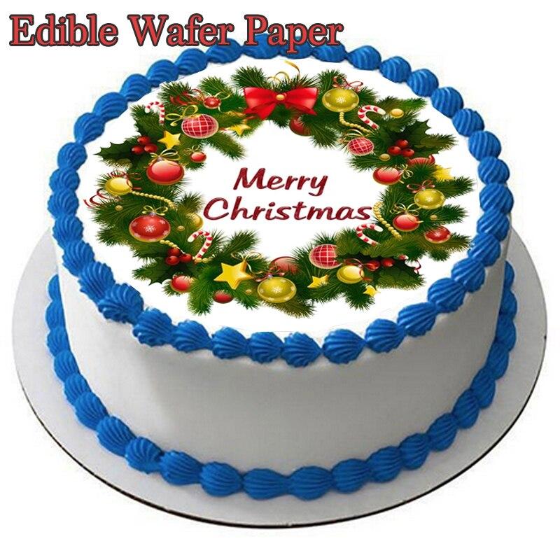 Obraz świąteczny jadalny papier waflowy do Topper do dekoracji tortu papier do cukru arkusz papieru świąteczna dekoracja ciasta na przyjęcie dostawcy