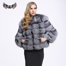 13e2d2083 BFFUR Real Silver Fox Fur Coat Party Dress Park With Natural Fur Thick Warm  Top Grade