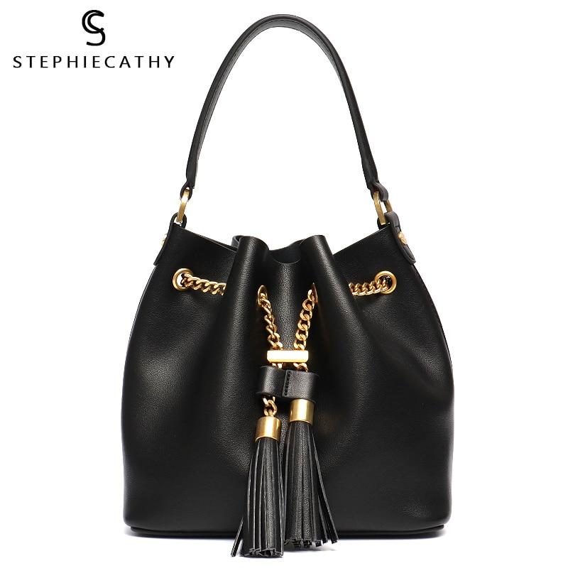 SC Genuine Leather Fashion Women Bucket Ladies Tassel String Handbag Drawstring Tote Bag High Quality Cowhide