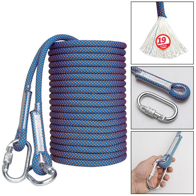 Corde d'escalade de sauvetage écharpe de Polyester auxiliaire statique randonnée bleu 10m 4500kg sécurité avec 2 mousquetons activités