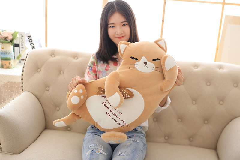 yellow cat hug small fish design soft plush toy large 50cm throw pillow birthday gift b0889 lovely giant panda about 70cm plush toy t shirt dress panda doll soft throw pillow christmas birthday gift x023