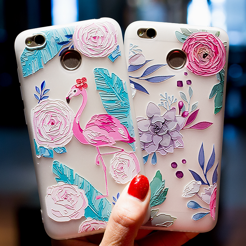 3D Relief Flower Case For Xiaomi Redmi Cute Flower Covers