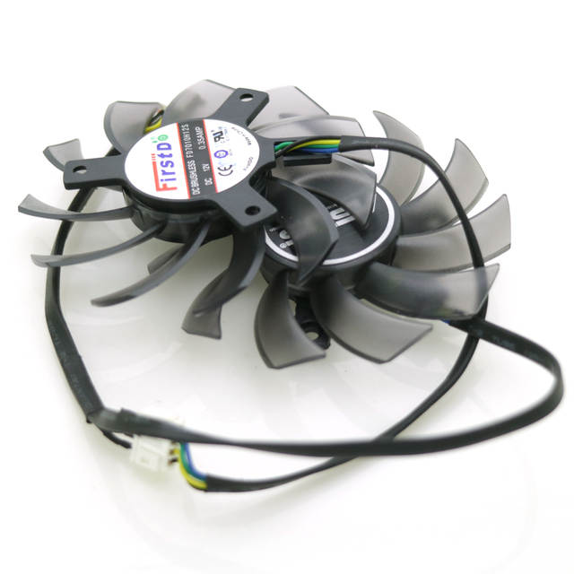 US $15 99 |2pcs/lot FD7010H12S DC 12V 0 35A 75mm VGA Fan For ASUS GTX7750TI  GTX650TIB R7 260X HD7950 DirectCU II Graphics Card Fan 4Pin-in Fans &