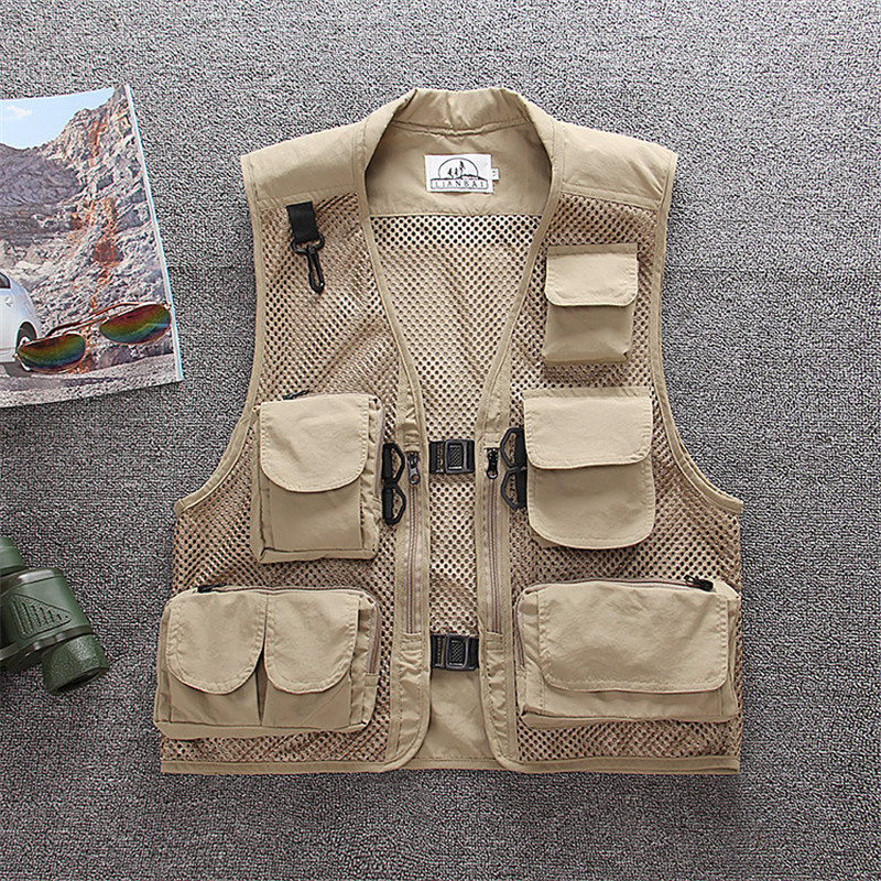 Men Women Camouflage Fly Fishing Mesh Pocket Vest Summer Outdoor Hiking Hunting Angling Fast Dry Breathable Sleeveless Waistcoat