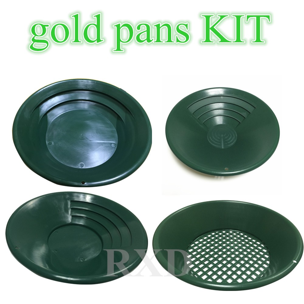 Hot Selling metal detector tools kit Alluvial Plastic Gold Pan KIT for Gold Panning plastic gold pan for sand gold manual mining green plastic gold pan with two types of riffles set of 3 gold pan and one sifter
