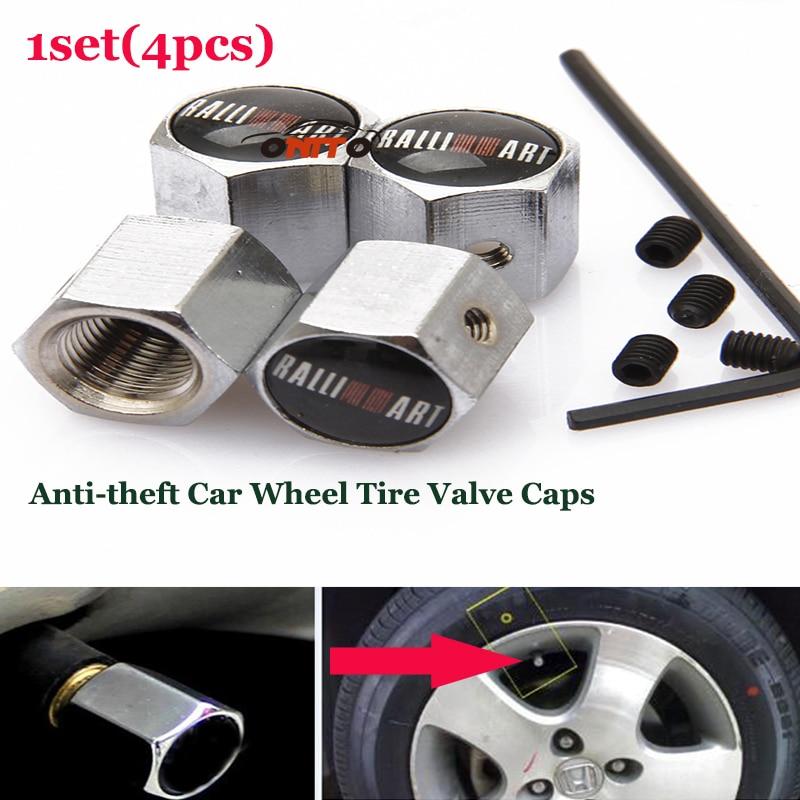 1set car wheel valve stem caps for Lancer 10 9 EX Eclipse Galant outlander Ralliart logo Auto Wheel Tire valve Covers