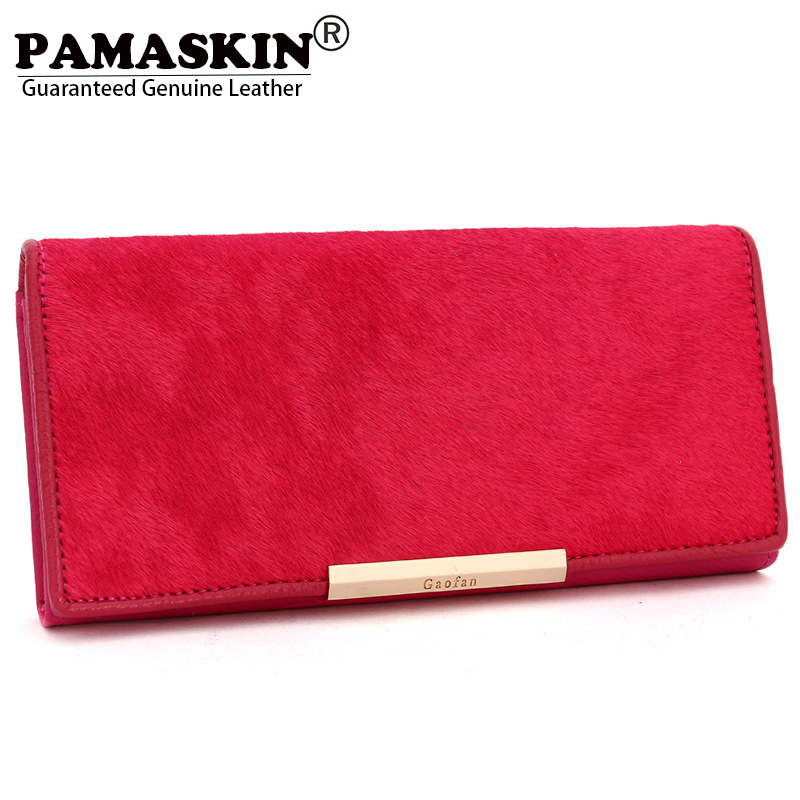 PAMASKIN Luxury Horsehair and Cowhide Top Quality Fashion Women Organizer Wallets Large Space Designer Women Wallet Coin Purses bvp luxury brand weave plain top grain cowhide leather designer daily men long wallets purse money organizer j50