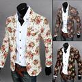 Homens blazers florais 2017 novo design de moda vintage de fitness fino linho jaqueta flor terno de negócio blazer ocasional casaco outerwear