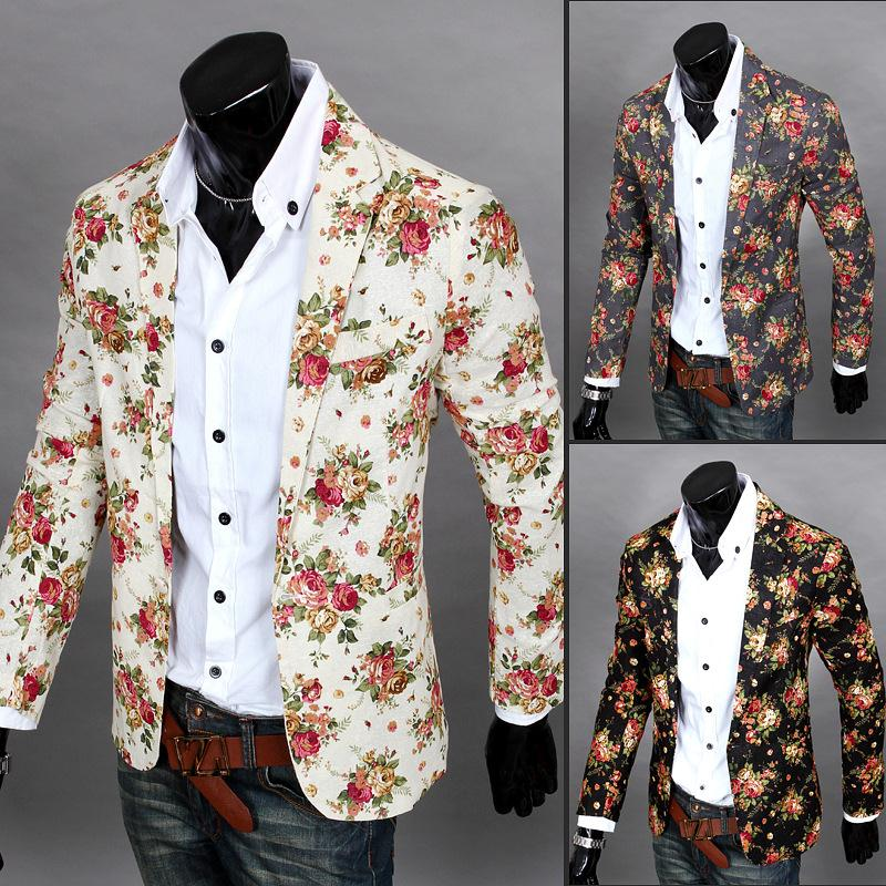 Men Floral Blazers 2017 New Design Fashion Vintage Slim Fitness ...