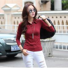 Polos Neck cotton polo button down shirts plain black polo shirt plain tops polos femme women Women Brand