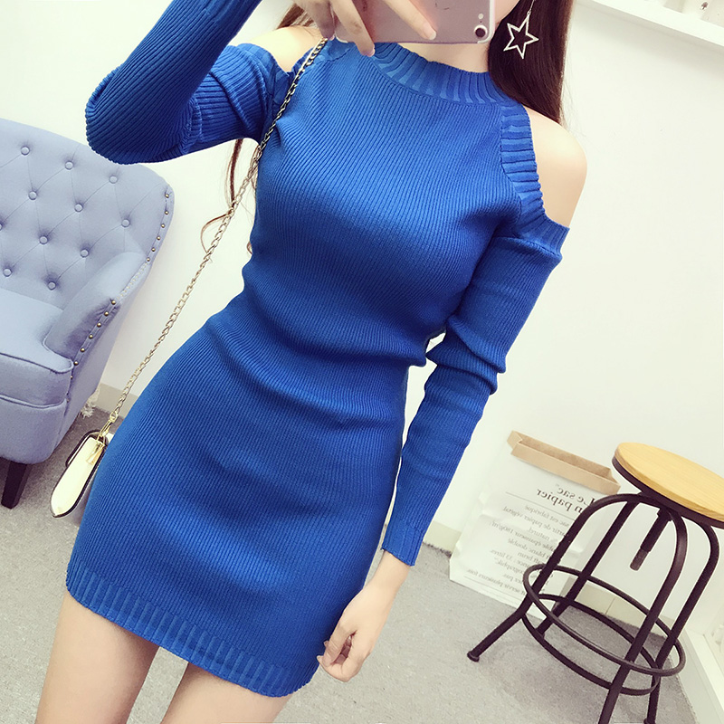 2018 Autumn Winter Women Sweater Dress Slim Solid Off Shoulder Sexy Office Ladies Stretchy Fashion Skinny Mini Dresses Knitwear