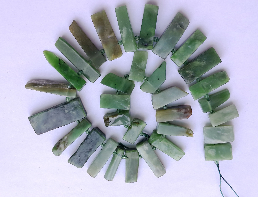 Natural Nephrite Bead Canadian jad e Nephrite Long Nugget Chip Beads For Gem Jewelry DIY High