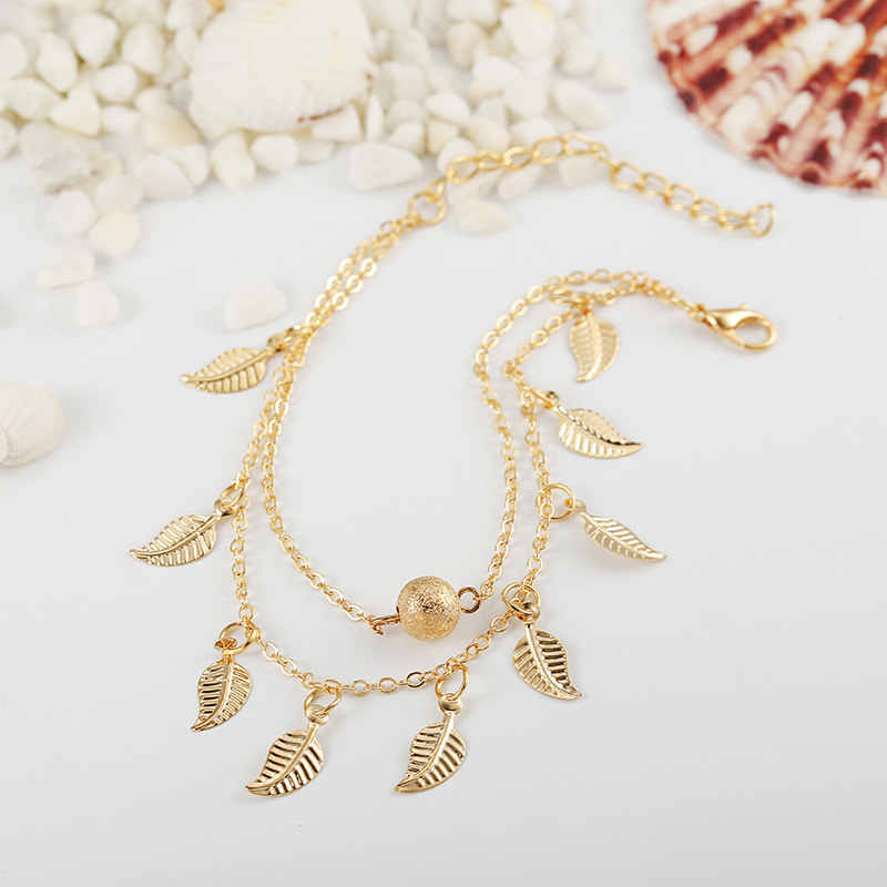 2019 Bohemia Beach Barefoot Sandals Anklet Chain Gold Leaf pendant Foot Bracelet Fashion Jewelry for Women Ankle Wholesale