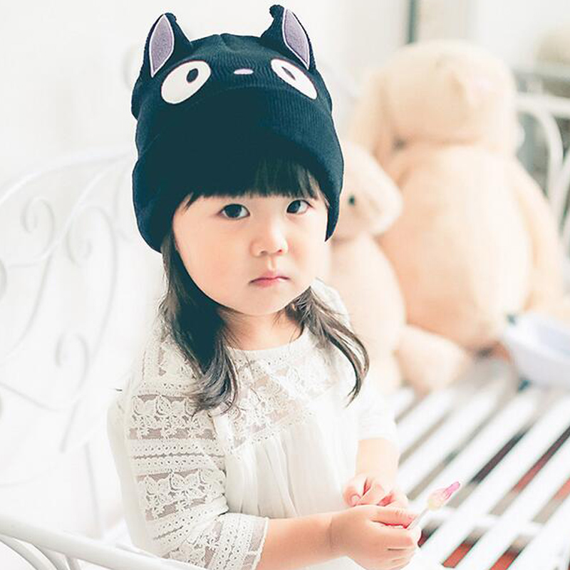 (3 Colors )2016 Lovely Cat Face Beanie Black children hats cap baby hat photography props baby cap hats for children