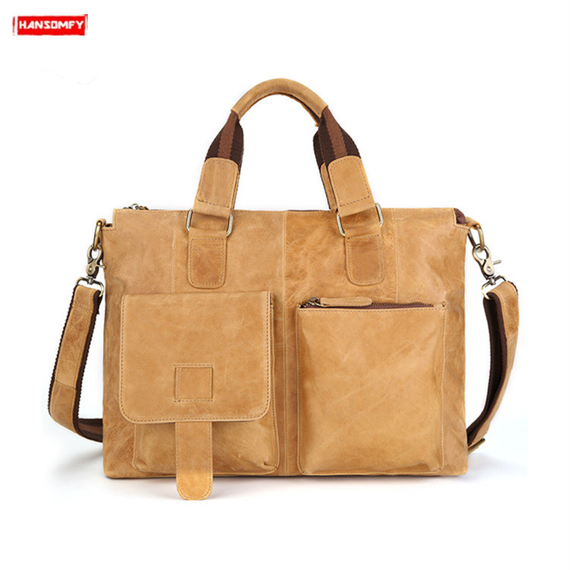 Crazy Horse Leather Men's Briefcases 15 Inch Laptop Handbag Men Crossbody Bags Business Briefcase Tote Shoulder Messenger Bag