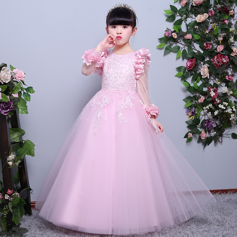 2017 New Sweet Pink Color Ball Gown Princess Girls Dresses For Weddings Party Girl Pageant Long Dress kids Party Gowns Designs new arrival girl ball gown princess dress pink bow short sleeve pageant flower girls dresses long for children prom gown ad 1671