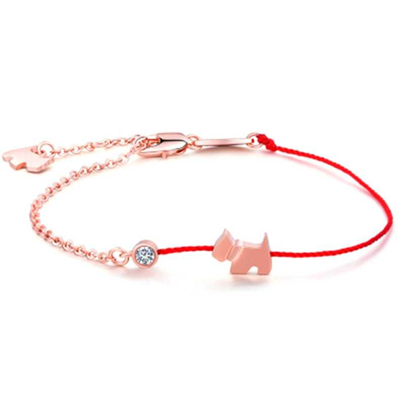 Rose gold color animal zodiac signs  dog a bracelet men's women's red thread charms bracelets for women new year gifts