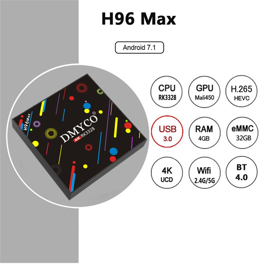 Image 4 - Android TV BOX H96 Max H2 Android 7.1 Smart TV Box 4G 32G RK3328 Quad Core Support Youtube 5G WiFi Russian 4K Set Top Box-in Set-top Boxes from Consumer Electronics
